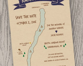 Printable Digital File - Canandaigua Lake Map Save the Date Card - Customizable - Wedding, Shower, Finger Lakes, New York, Hand-drawn