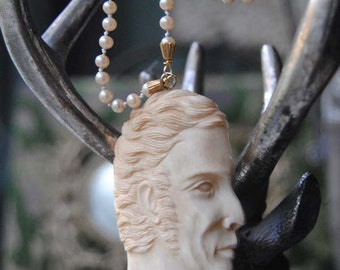 MR. DARCY--Carved Bone Gentleman Pendant Hand Knotted Vintage Faux Pearl NECKLACE