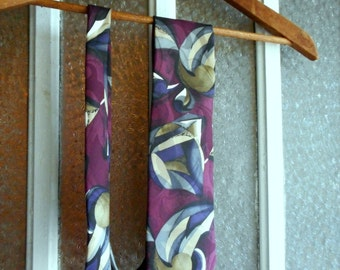 Vintage Men's 100% Silk Men's neck tie CHEZ ROFFE New York Geometric Abstract Pattern in Plum Chartreuse Grays Cream Silk Fabric imported