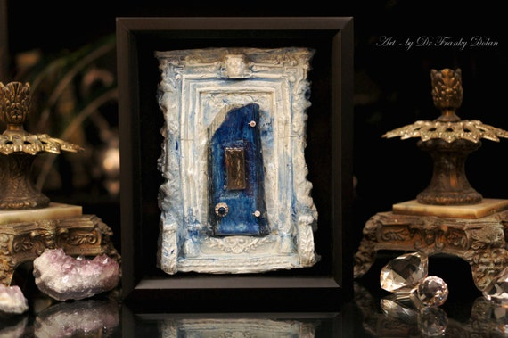 Fairy door blue heaven faerie dream door sculpture for The faerie door