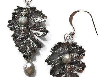 Fancy Leaf and Baroque Pearl Earrings