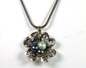 Big Flower Pearls Sterling Silver Pendant - ElenadE