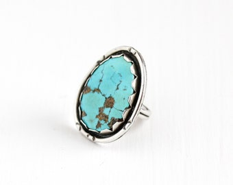 Vintage Sterling Silver Large Blue Turquoise Ring - Size 5 1/2 Retro Southwestern Native American Style Statement Nature Gem Jewelry