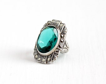 Vintage Sterling Silver Simulated Emerald Art Deco Ring - Size 3 1930s Filigree Marcasite Halo Green Oval Glass Stone Uncas Jewelry