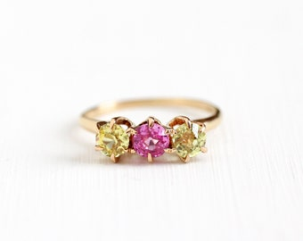 Sale - Antique Art Deco 14k Rose Gold Created Pink & Yellow Sapphire Ring - Art Deco 1920s 1930s Round Cut Created Gemstones Fine Jewelry