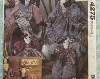 Country Cow Dolls and Clothes Vintage 1980's McCalls Crafts Pattern 4275 Faye Wine UNCUT