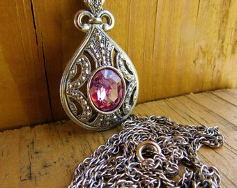 Early Vintage/Victorian/Renaissance Pendant Marie Antionnete Soft Pink Faux Marcasite Silver Metal