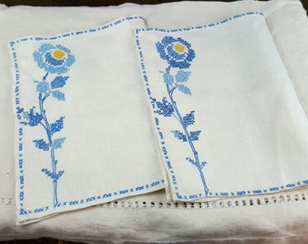 Vintage Linen Place Mats, White with Blue Cross Stitched Flowers, Set of Two, Hand Stitched