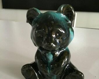 Blue Mountain Pottery/ Blue Drip Glaze/ Teddy Bear/Ceramic Teddy Bear/Blue Mountain Canada/  By Gatormom13