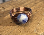 size 7.75 , 7 3/4 - navy blue and white Sodalite faceted gemstone antique copper wire wrapped ring - wrap stone women men unisex jewelry