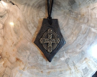 Leather  Pendant (Black leather with Celtic Cross)