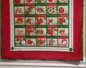 Christmas advent calendar, quilted wall hanging,  handmade heirloom advent calendar, traditional Christmas red and green wall hanging