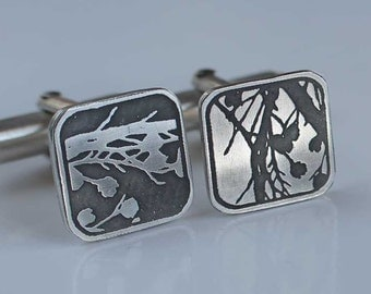 Beechnut Cufflinks - Etched Sterling Silver