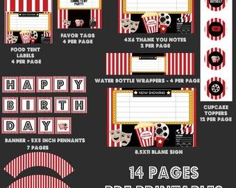 Movie Birthday Party, Movie Party Package, Movie Party, Printable Movie Party Package,movie party decorations, movie party decor