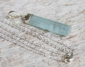 Aquamarine Necklace with Sterling Silver Chain