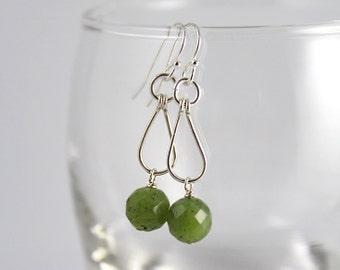 Hoop Earrings, Sterling Silver, Jade Hoop Earrings, Green Hoop Earrings, Jade Earrings, Sterling Silver Hoop Earrings, Green Jade Earrings