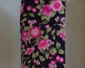 """Vintage I.N. STUDIO Pink Floral Print on BLK Background 37"""" Length Skirt Waist 32 and 1/2""""  Hips 45"""""""