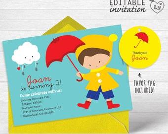 Rain INSTANT DOWNLOAD Editable Invitation / Rain Invitation  / EDITABLE Rain Invitation / Rain Party / Rain / Umbrella Party