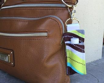 Brown Lime Green and Aqua Wavy Stripes - Rodan + Fields Lip Shield Case, Lip Gloss Keychain, Lip Balm Clip,Chapstick Holder,Lipbalm Keychain