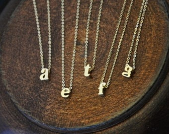 Gold Tiny Initial Necklace - Bridesmaids Gifts, Gift Favor, Bridal Party Gift, Small Block Letter Necklace, Tiny Alphabet Necklace