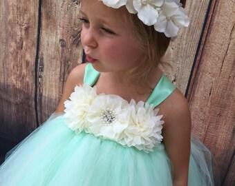 Mint green and ivory girls tulle flower girl dress, mint girls dress, mint wedding