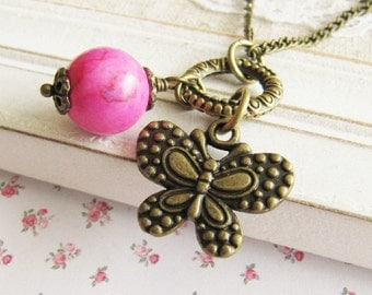 Butterfly necklace, pink charm necklace, bronze vintage style jewelry, for her, Europe