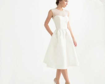 Ivory silk taffeta sleeveless sweetheart knee-length dress // simple modern wedding dress // Marta Dress