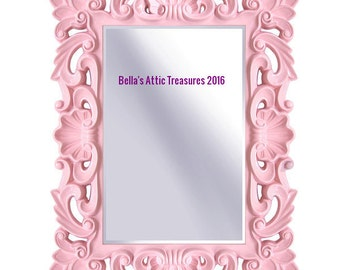 Reserved ,Ornate Mirror, Pink Mirror, Mirror, Wall Mirror, Nursery Mirror, Size 43 x 32