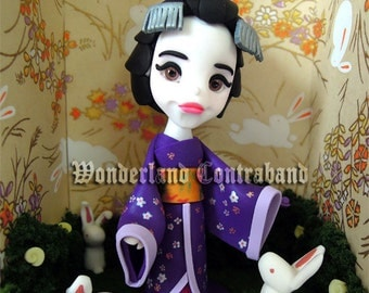 NEW - Geisha Bunny Doll - ORIGINAL OOAK Miniature Sculpture - Surface Decor