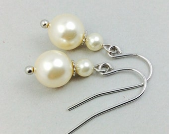 Pearl Earrings In Silver With Cream Round Swarovski Crystal With Silver Spacer Beads