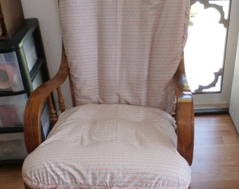 Nursery Glider Rocker SlipCover -Peach Ticking with blue Roses   - Covers for your cushions