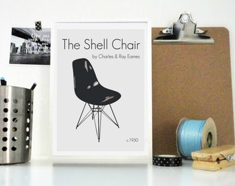 Retro Art Print, The Shell Chair Print, Ray and Charles Eames Chair, Eames Art Print, Vintage Poster, Vintage Print, Home Decor, Wall Art