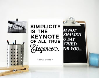 Simplicity Coco Chanel Quote, Elegance Quote, Typography Art Print, Fashion Quote, Style Quote Print, Gift for Women, Coco Chanel Poster