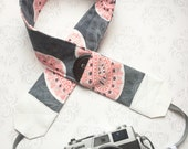 DSLR Camera Strap, Extra Long, Padded with 2 Lens Cap Pockets, Nikon, Canon, DSLR Photography, Photographer Gift - Gray and Coral Paisley