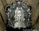 Bat Girl Spooky Pop Surreal Original painting Acrylic