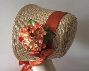 Regency/Victorian Straw Bonnet. Jane Austen. Burnt Orange/Copper Trim