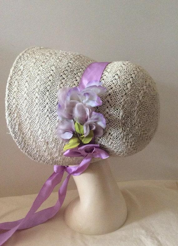 Regency/Victorian Straw Bonnet. Jane Austen. Handmade, LilacTrim.