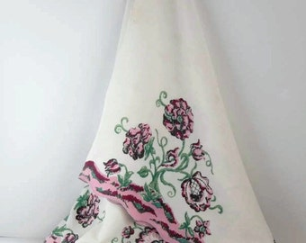 Vintage Cotton Tablecloth, Jacobean Scroll Style Floral Tablecloth Bright Colors Pink & Green Cream Background, Large Rectangular Tablecloth