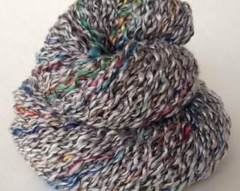 Bouclé yarn,  400 yards, peach, yellow, blue, red, silver, up-cycled sweater yarn, saori weaving yarn