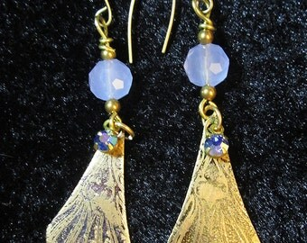 Etched Brass Dangles with Lavender Bead
