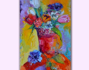 Happy Tulips - Spring Flowers - FREE SHIPPING - Modern Ready to Hang Painting - Original Oil Painting, Ready to Hang Wall Decoration, 2016