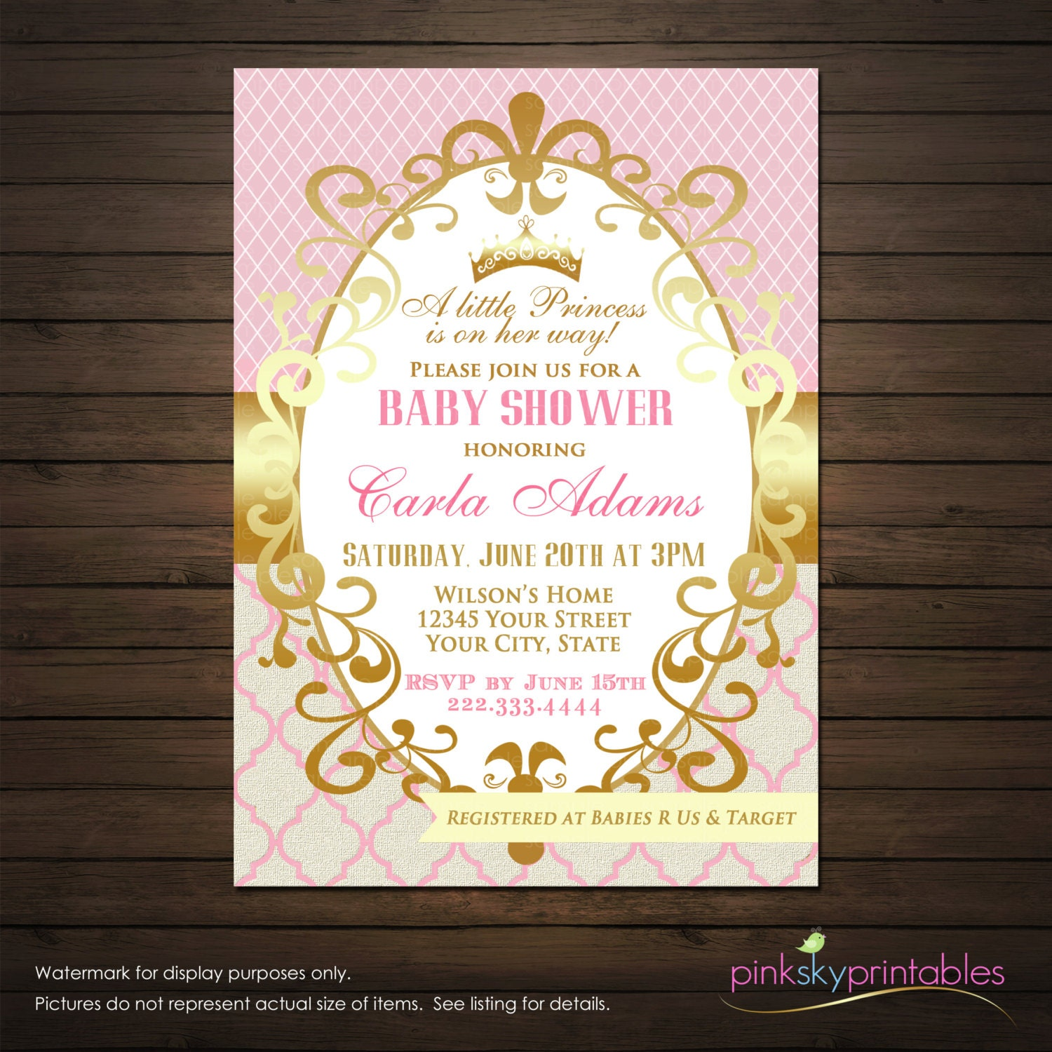 Princess Baby Shower Invitations Printable File Girl Shower