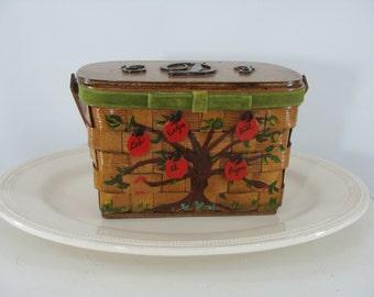 SALE Vintage Seventies Purse - 1970s Wooden Box Purse - 70s Basket Purse with Apples