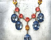 Custom for Melissa- Crystal Statement Necklace - Stud Earrings - Tennis Bracelet