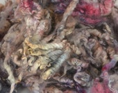 Spinning and Felting Fiber Coopworth LAMB Fleece (Coated) Locks Hand Dyed - Moonglow