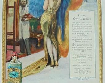 Genuine 1920's French Advert - '4711' Perfume Colour Ad (Lutz Ehrenberger)