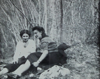 French Vintage Photo - Two Women in the Woods at Dent de Crolles