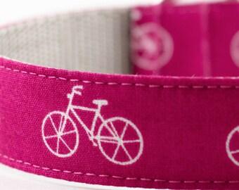 Bicycle Dog Collar in Fuchsia