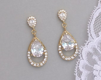 Gold Teardrop Earrings, Crystal Teardrop Earrings, Gold Bridal Jewelry, Gold Wedding Earrings, Bijoux de Mariage, JASMINE