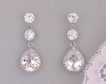 Crystal Bridal Earrings, Gold or Silver Earrings, Bridal Jewelry, Bridesmaids Earrings  CHARLIE 3